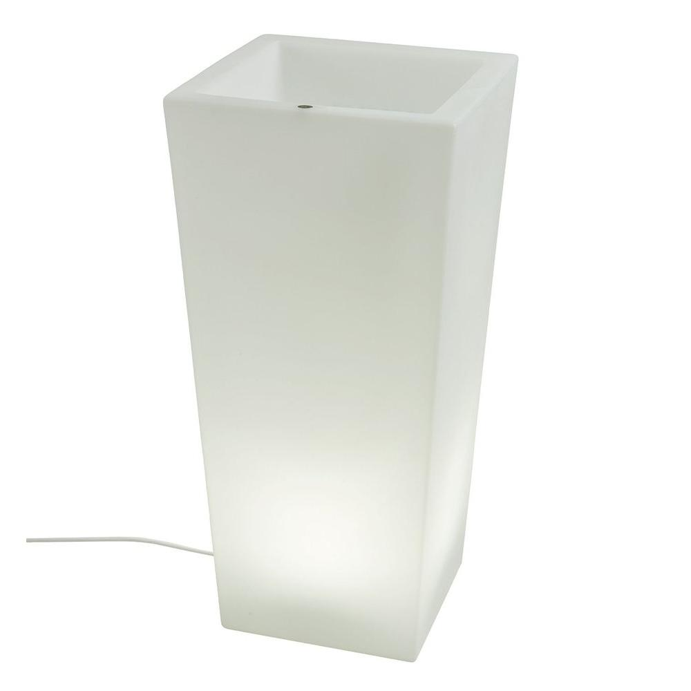 Filament Design Twist Production 32 in. White Outdoor Lighted Planter