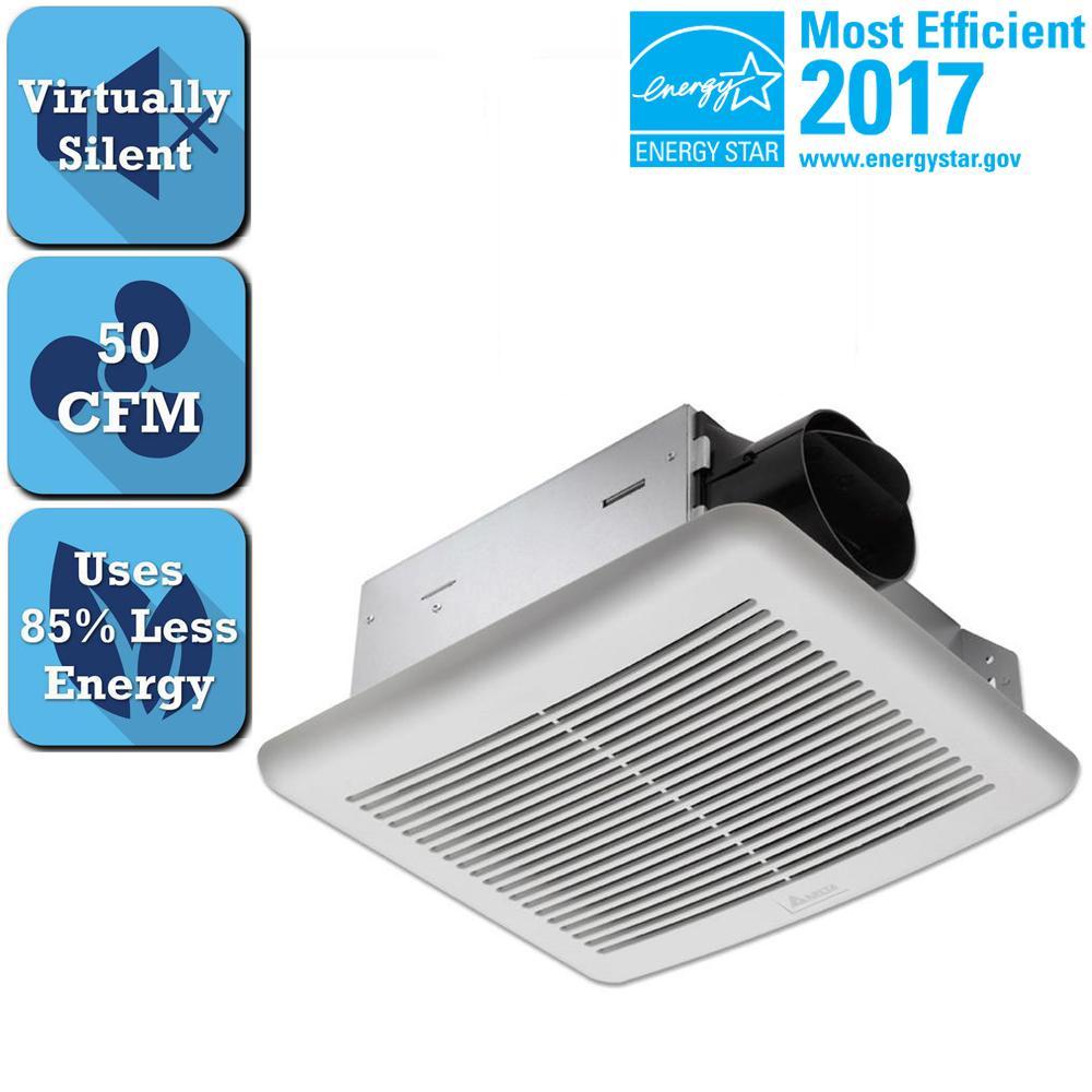 Energy Efficient Bathroom Exhaust Fans: Delta Breez Slim Series 50 CFM Wall Or Ceiling Bathroom