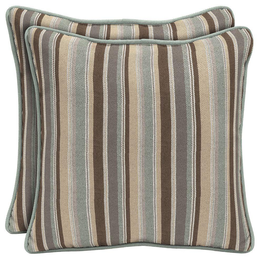 Hampton Bay Seaside Stripe Square Outdoor Throw Pillow with Welt (2-Pack)