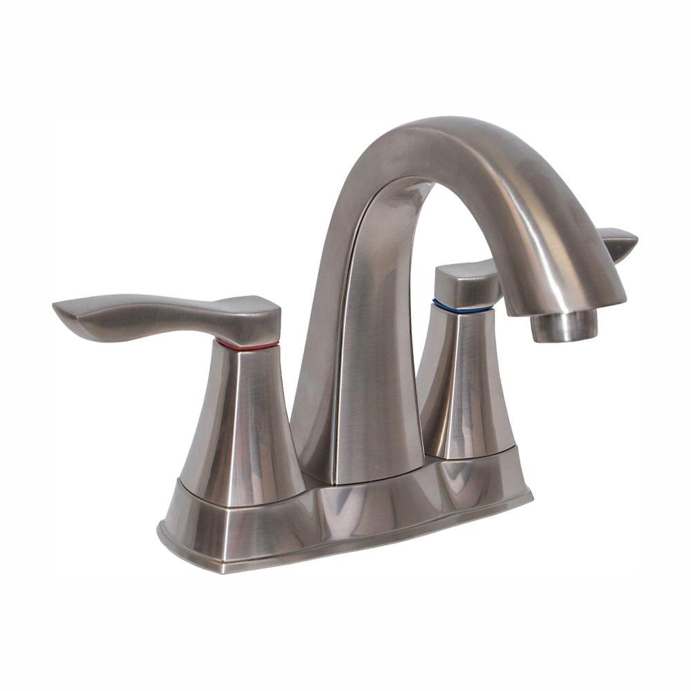 EZ-FLO 4 in. Centerset 2-Handle Bathroom Faucet in Brushed Nickel