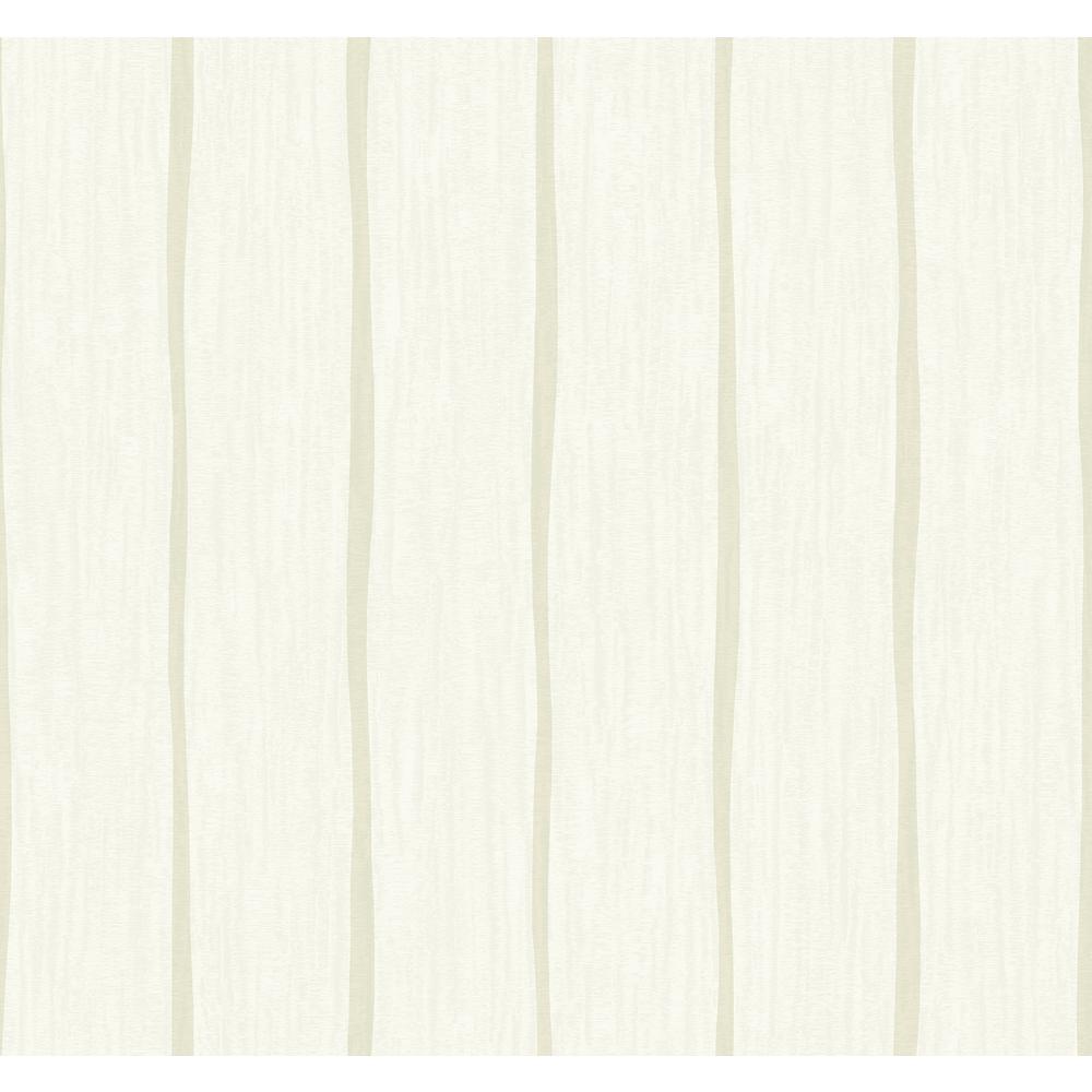 Aruba Light Greige and Off-White Waving Stripe Wallpaper
