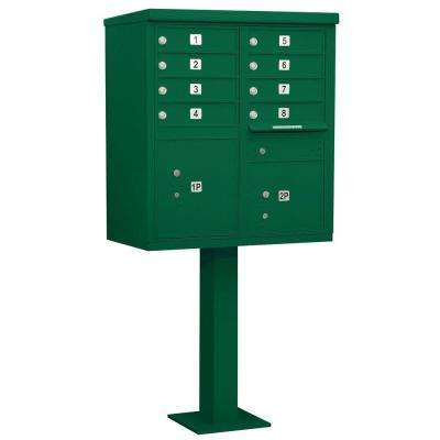 Green USPS Access Cluster Box Unit with 8 A Size Doors and Pedestal