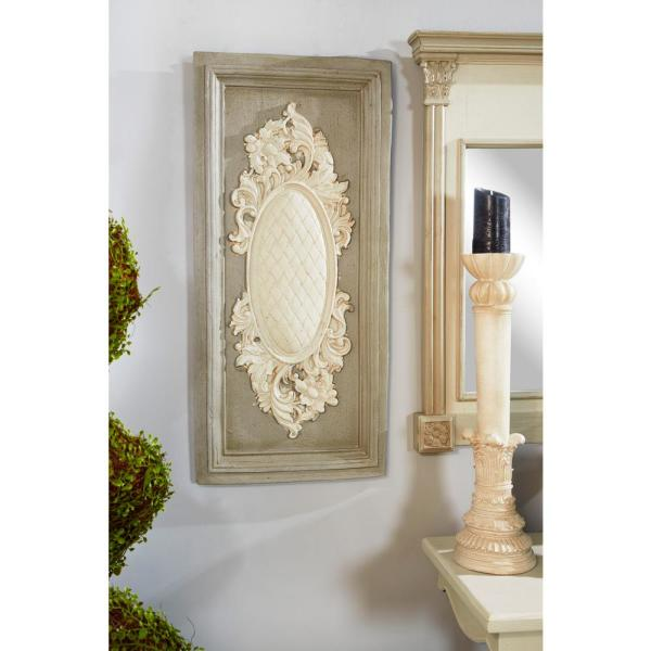 Large White And Beige Antique Carved Wood Wall Art