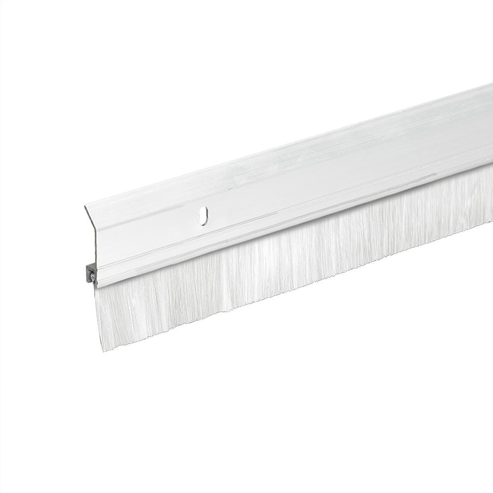 2 in. x 36 in. Heavy-Duty Aluminum/Brush White Door Sweep