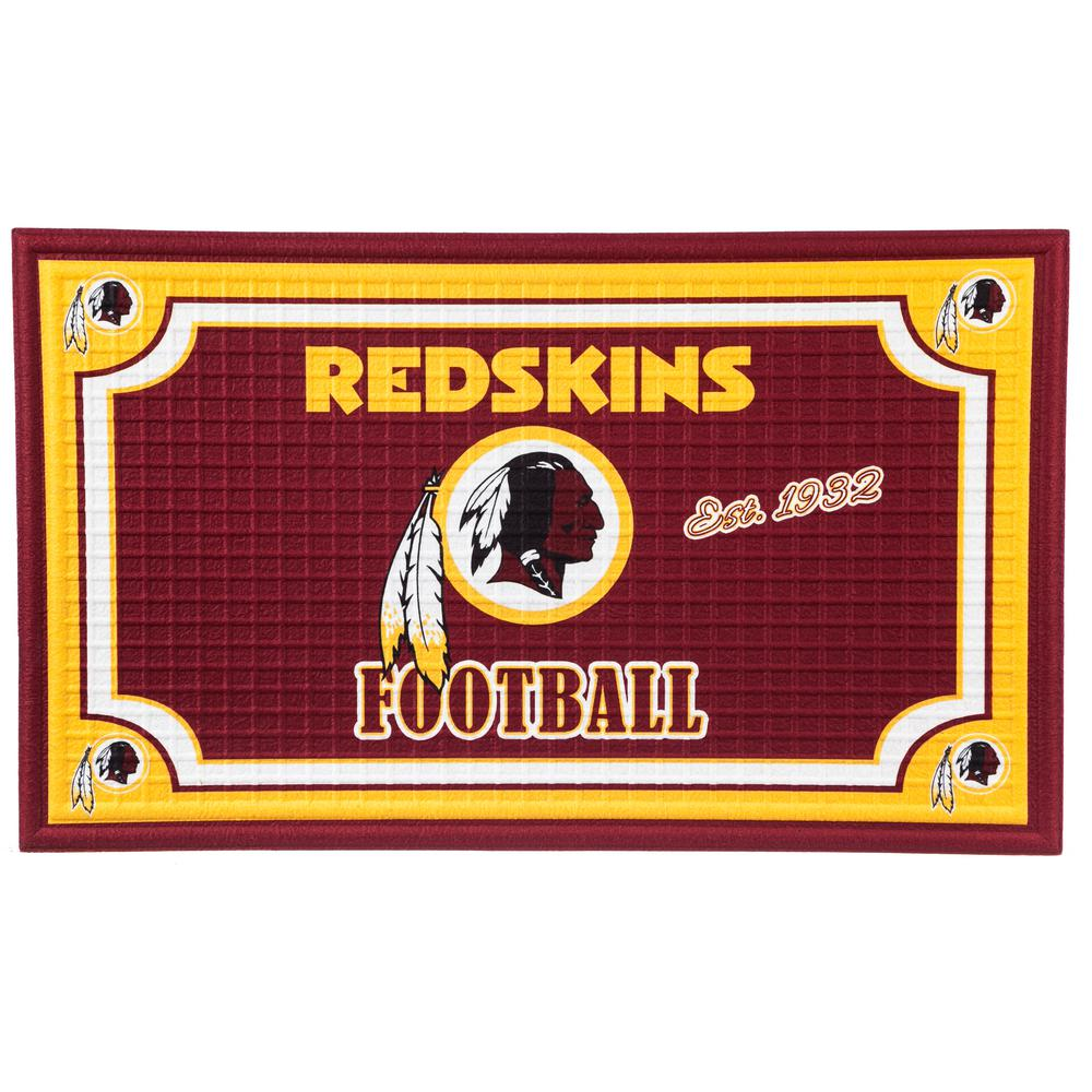 Attractive Evergreen Washington Redskins 18 In. X 30 In. Embossed Welcome Mat