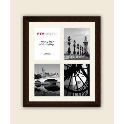 4-Opening 8 in. x 10 in. White Matted Bronze Photo Collage Frame