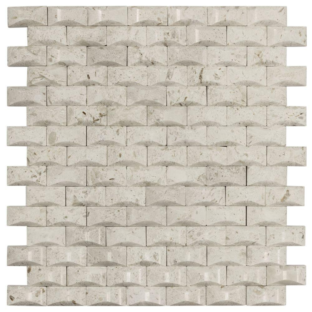 Jeffrey Court Cotton Bales 11.125 in. x 11.875 in. x 8 mm Beige Marble Mosaic Wall Tile