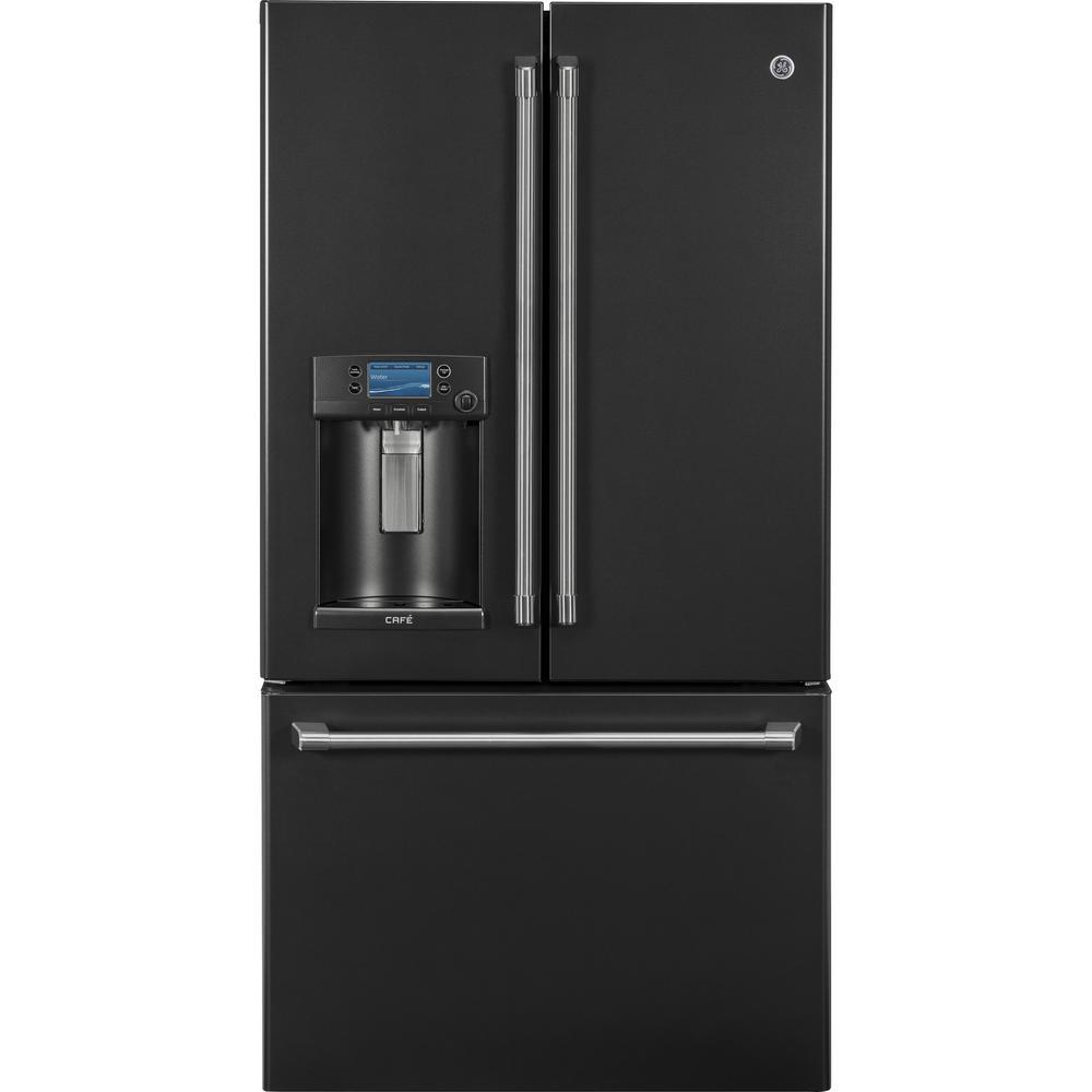 Cafe 22.2 cu. ft. Smart French-Door Refrigerator with Keurig in Black Slate, Counter Depth and Fingerprint Resistant
