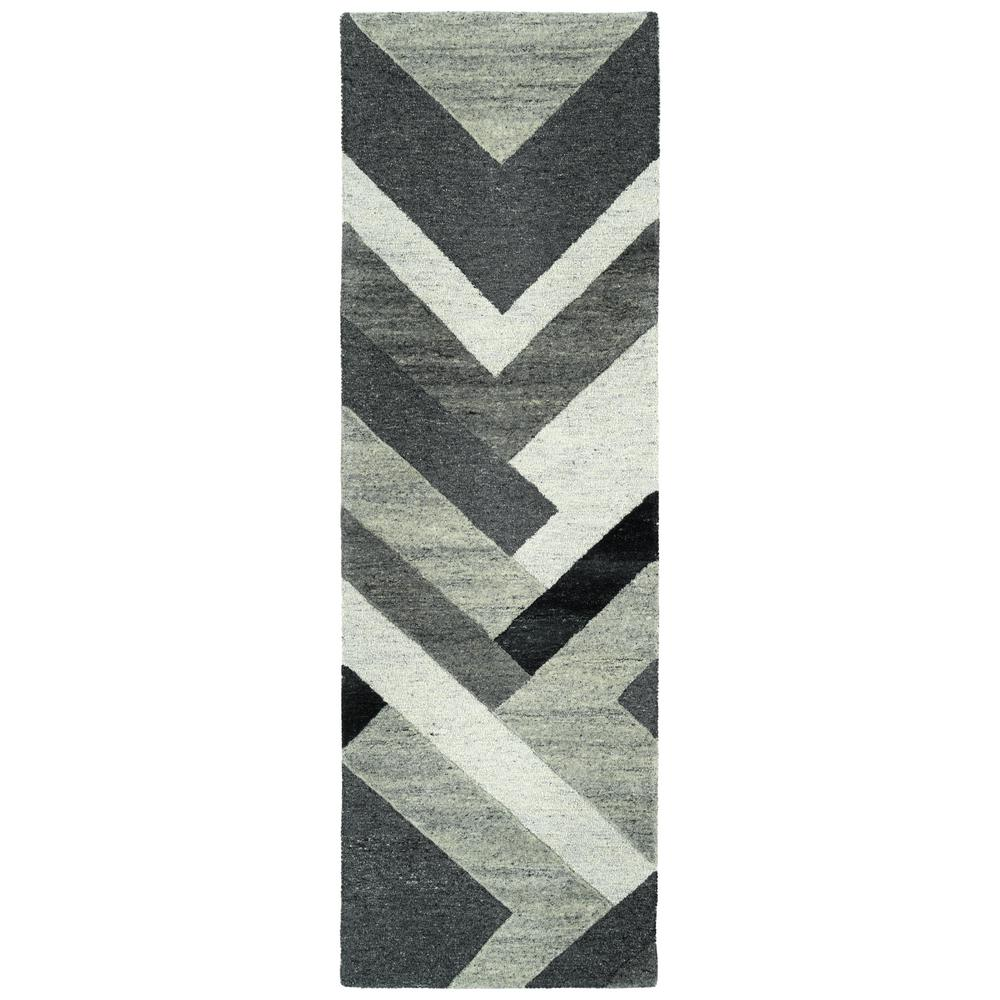 Kaleen Alzada Charcoal 2 ft. 6 in. x 8 ft. Runner Rug