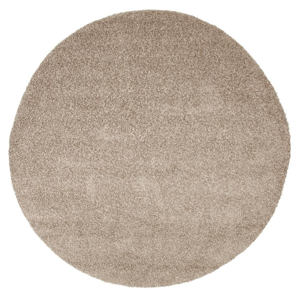 Lavish Home Shag Taupe 8 Ft X 8 Ft Round Indoor Outdoor Area Rug