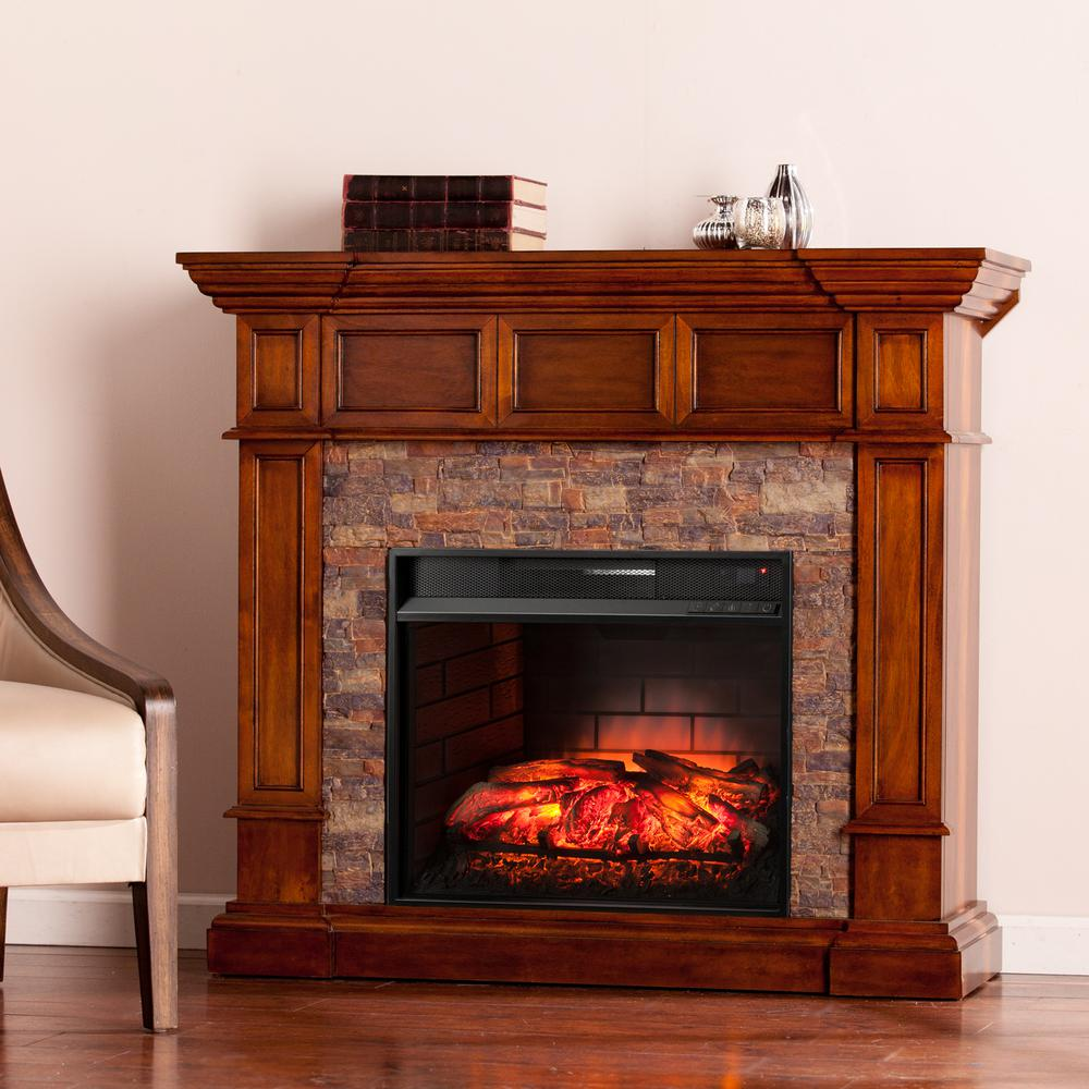 Amesbury 45.75 in. W Faux Stone Corner Infrared Electric Fireplace in