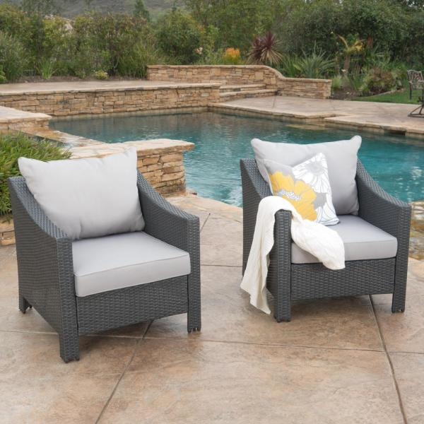 Antibes Grey Stationary Wicker Outdoor Lounge Chair with Silver Cushion (2-Pack))