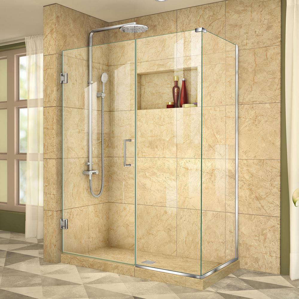 DreamLine Unidoor Plus 34-3/8 in. x 45-1/2 in. x 72 in. Semi-Frameless Hinged Corner Shower Enclosure in Chrome