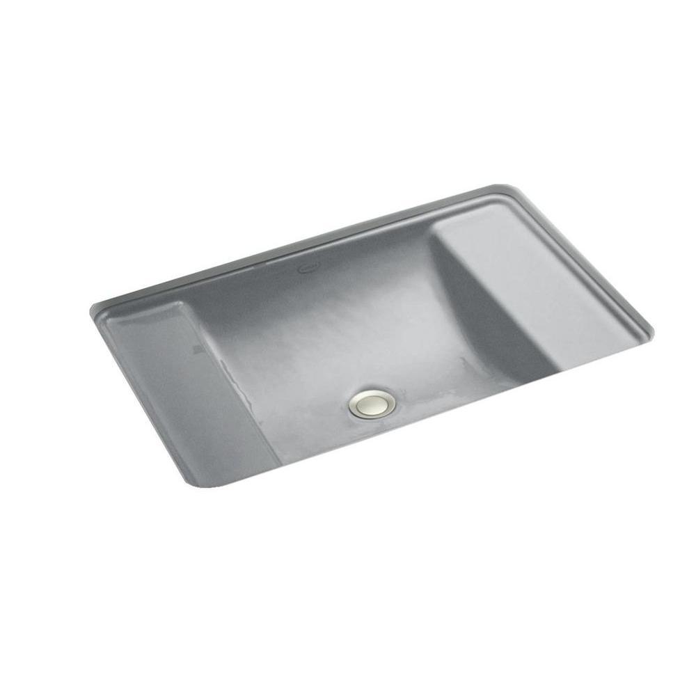Ledges Undermount Cast Iron Bathroom Sink in Basalt with Overflow Drain