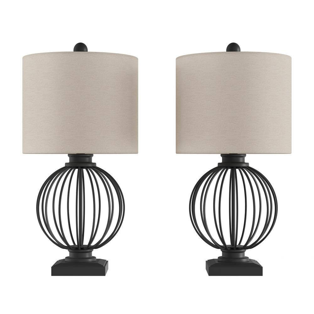 Lavish Home 26 In Matte Black Wrought Iron Orb Open Cage Led Table Lamps Set Of 2