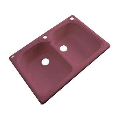 Hartford Drop-In Acrylic 33 in. 2-Hole Double Bowl Kitchen Sink in Raspberry Puree
