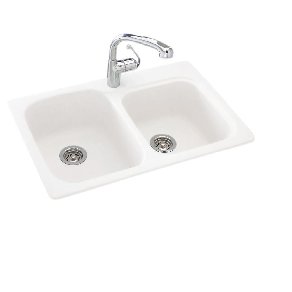 Swan Drop-In/Undermount Solid Surface 33 in. 1-Hole 55/45 Double ...