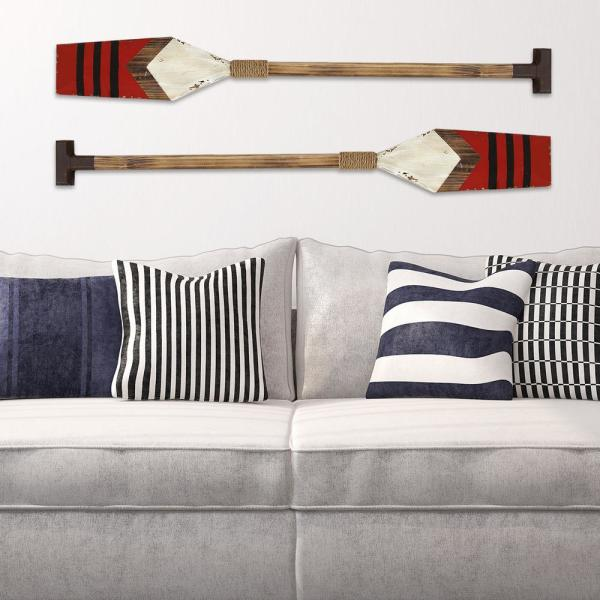 Stratton Home Decor Red Wooden Nautical Oar Wall Art S07724 The Home Depot