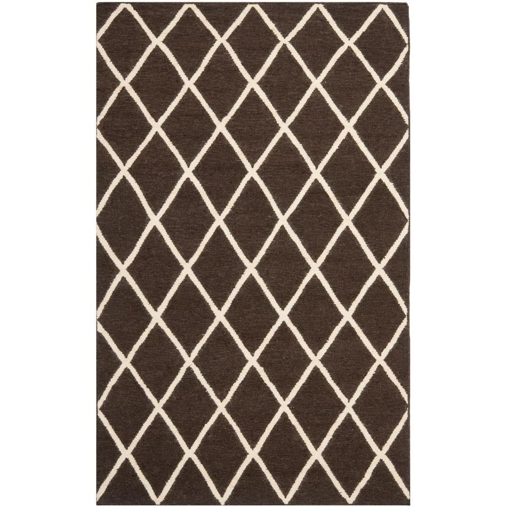 Dhurries Brown/Ivory 8 ft. x 10 ft. Area Rug
