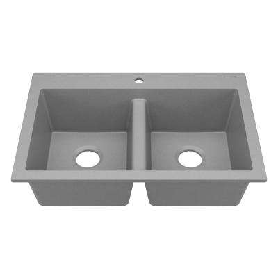 Whitney Drop-In Granite Composite 33 in. 1-Hole 50/50 Double Bowl Kitchen Sink in Graphite Gray