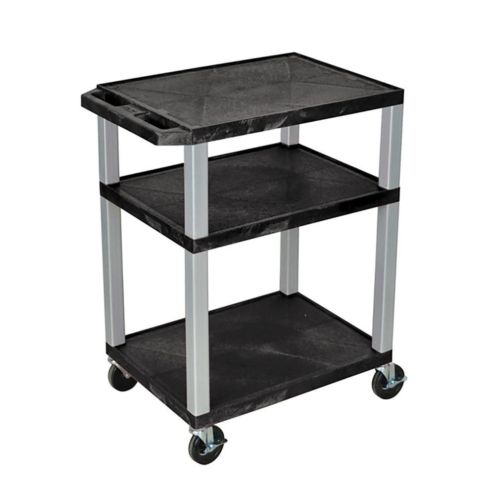 AV 24 ft. w x 18 ft. D - 3 Shelf Audio Visual Cart Black w/ nickel legs