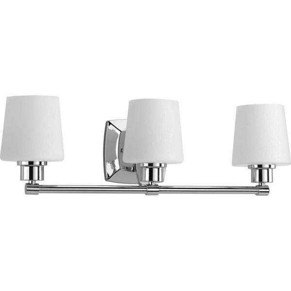 Progress Lighting Glance Collection 3 Light Polished Chrome Bathroom Vanity Light With Glass Shades P300018 015 The Home Depot
