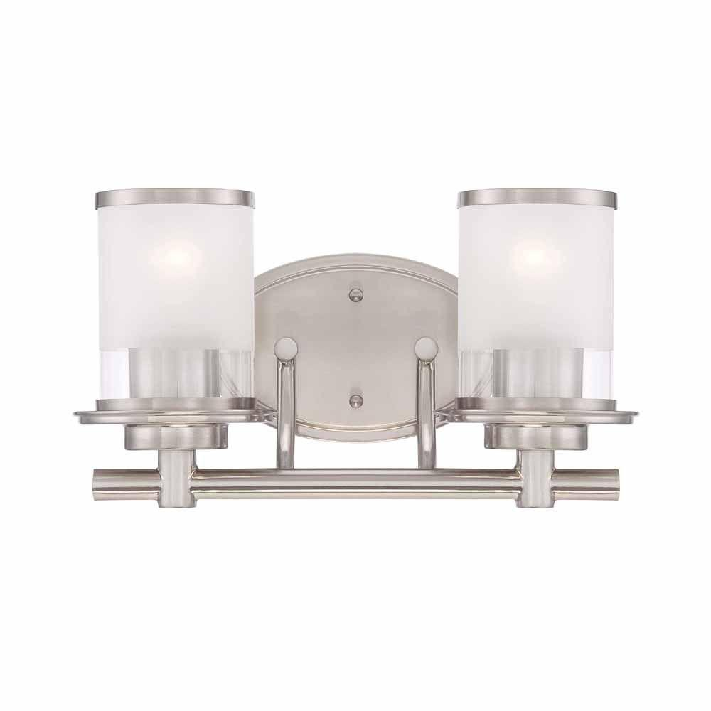 2 Light Brushed Nickel Vanity Light With Clear And Sand Glass Shades