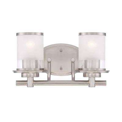 2-Light Brushed Nickel Bath Bar Light with Clear and Sand Glass