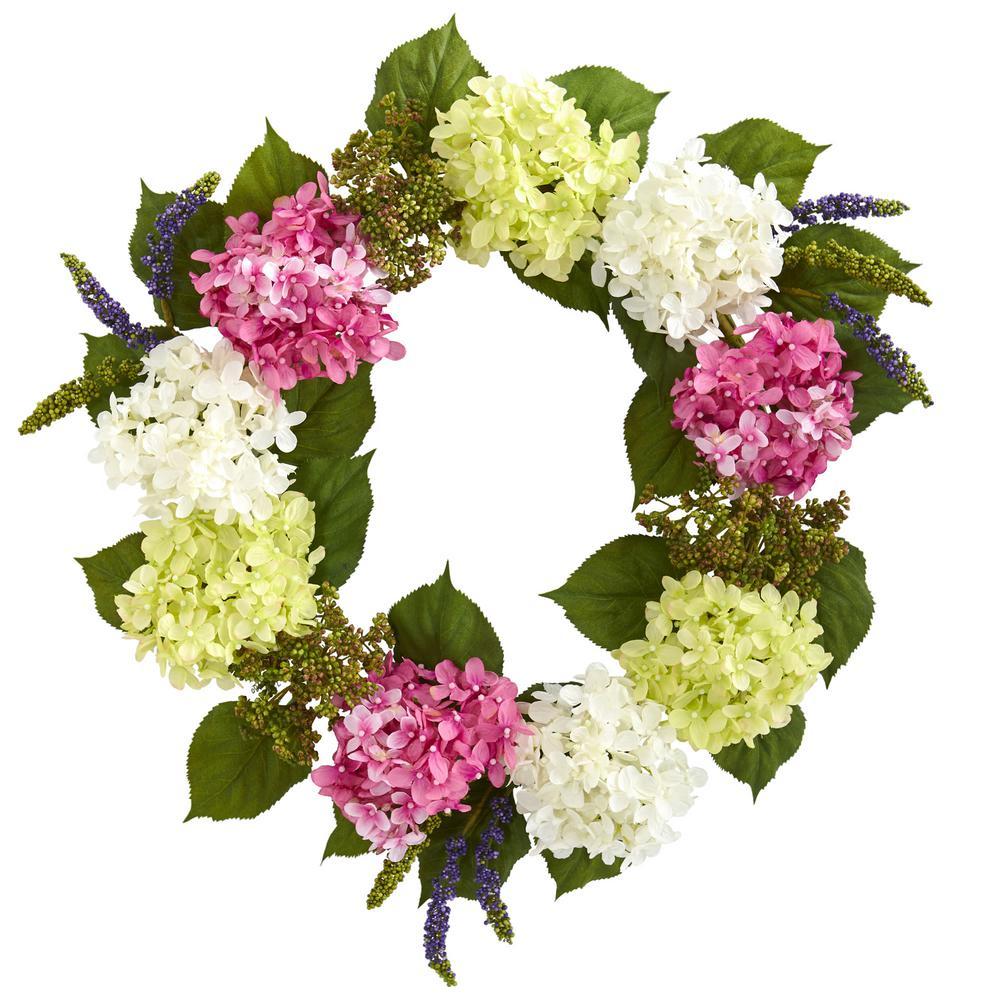 23 in. Indoor Hydrangea Artificial Wreath