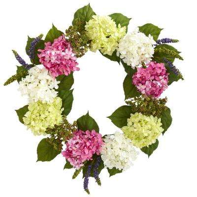 23 in. Indoor Hydrangea Artificial Wreath