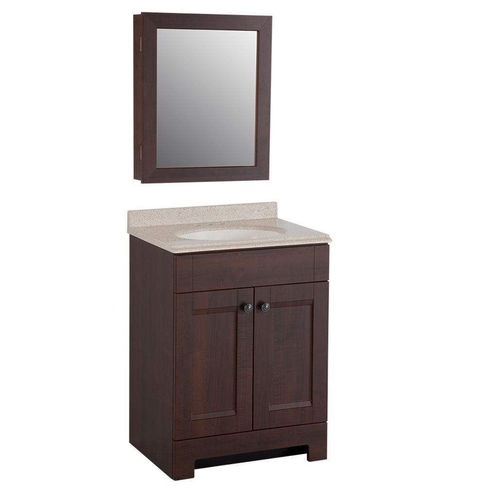 Sensational Glacier Bay Aspen 24 In W X 19 In D Bathroom Vanity In Truffle With Colorpoint Vanity Top In Maui And Mirrored Medicine Cabinet Home Interior And Landscaping Ologienasavecom