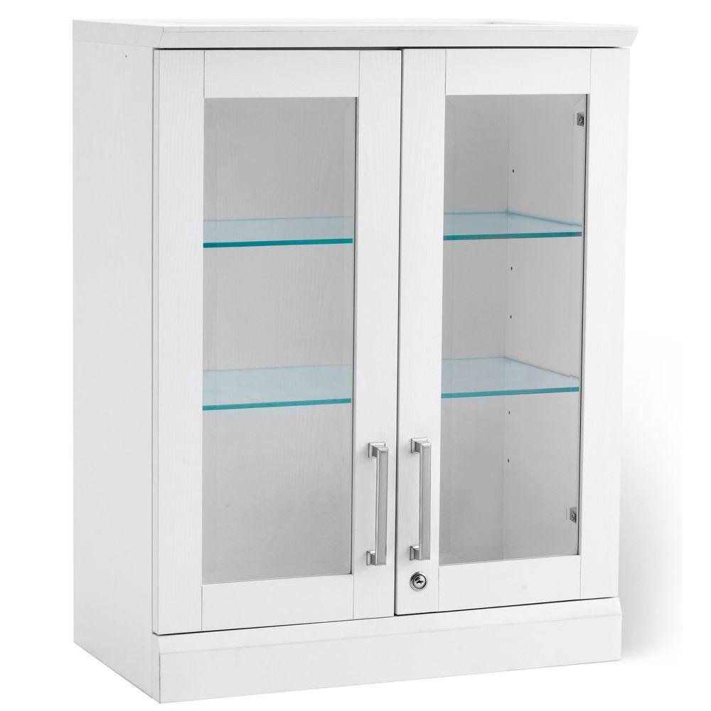 Newage Bar White Short Wall Display Cabinet White Woodgrain Image