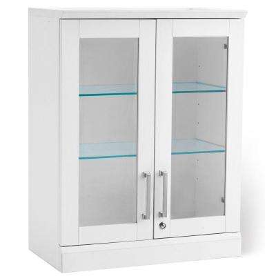 Home Bar White Short Wall Display Cabinet