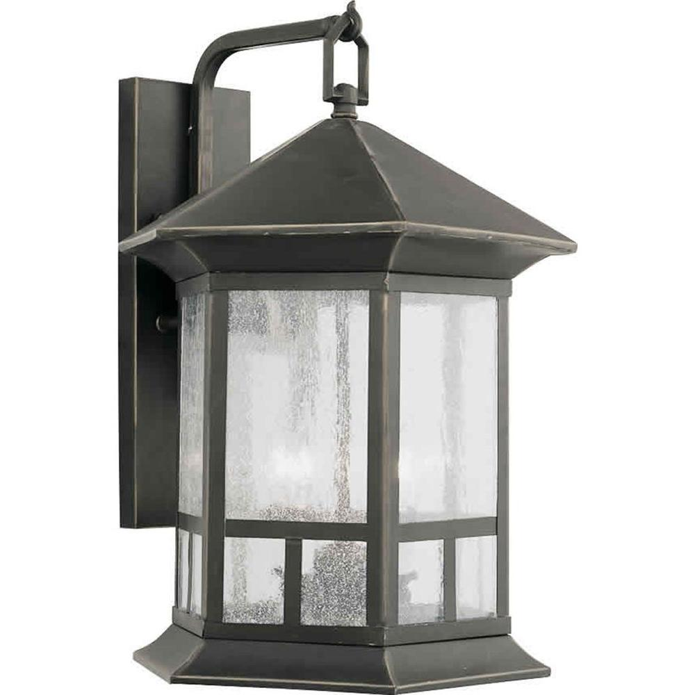 Talista 4-Light Outdoor Royal Bronze Wall Lantern with Clear Seeded Glass