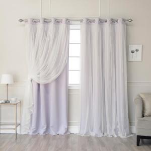 84 inch L Marry Me Lace Overlay Blackout Curtain Panel inch Lilac (2-Pack) by