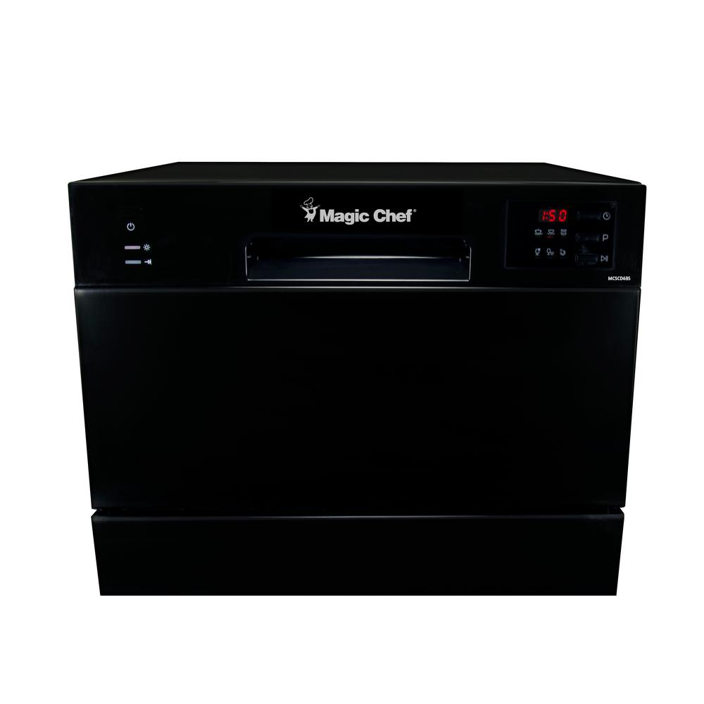 Magic Chef Portable, Countertop Dishwasher in Black with 6 Place Settings Capacity