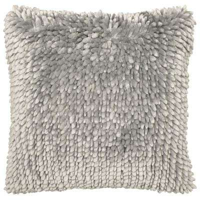 Butter Chenille 18 in. x 18 in. Light Grey Decorative Pillow
