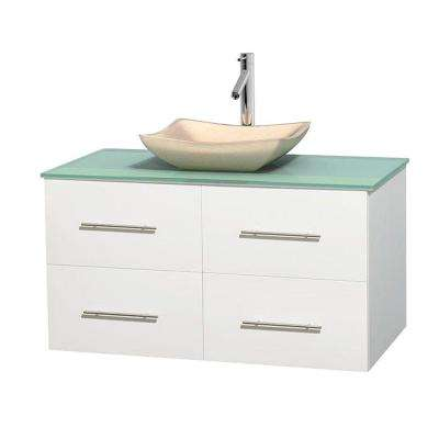 Centra 42 in. Vanity in White with Glass Vanity Top in Green and Sink