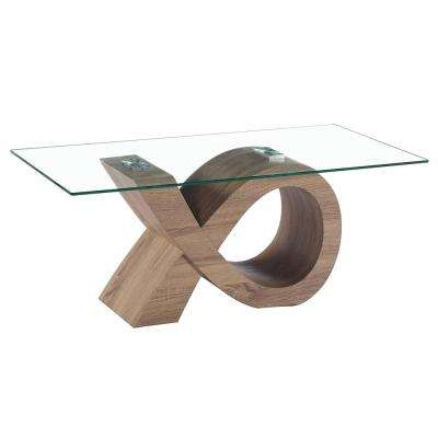 Alpha Glass Coffee Table with Oak Effect Stylish Base