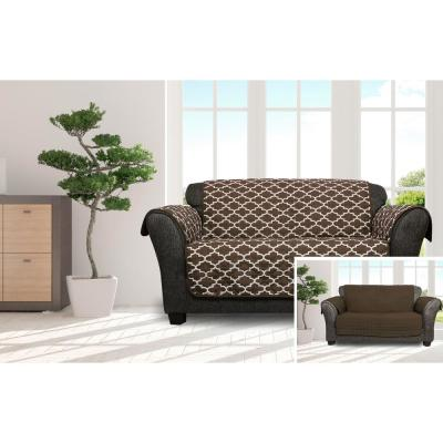Coby Chocolate Reversible Water Resistent Microfiber Loveseat Cover