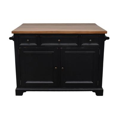 Hamilton Black Kitchen Island with Drop Leaf