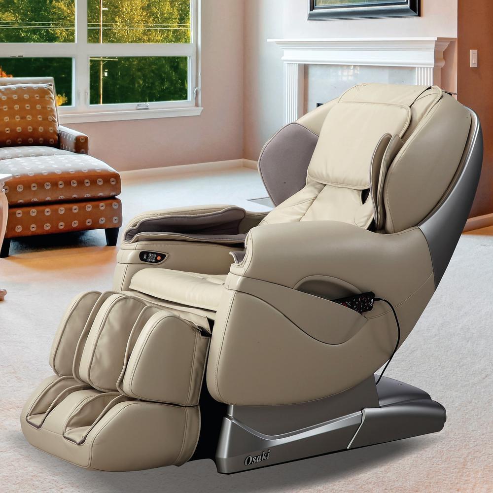 Titan Pro Series Tan Faux Leather Reclining Massage Chair (Cream)