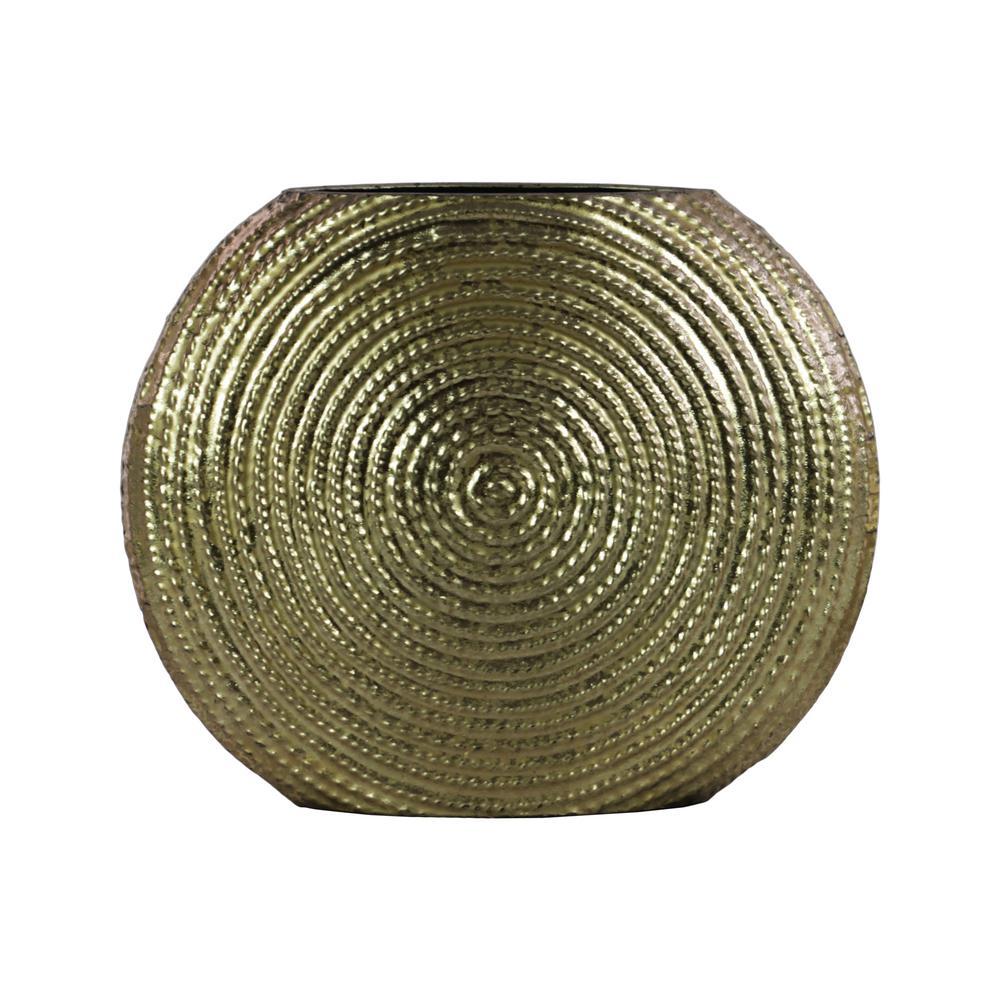 Gold Metallic Finish Metal Decorative Vase