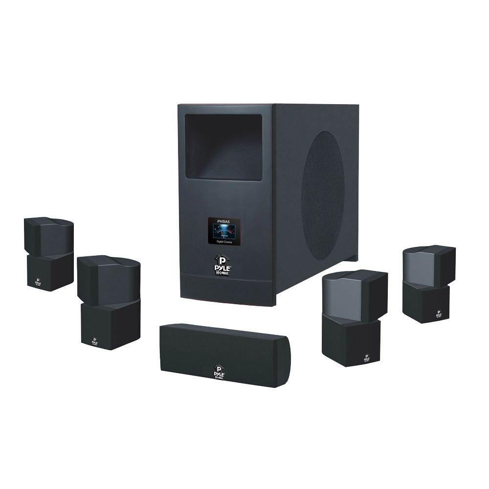 pyle 5 1 home theater system with active subwoofer and. Black Bedroom Furniture Sets. Home Design Ideas