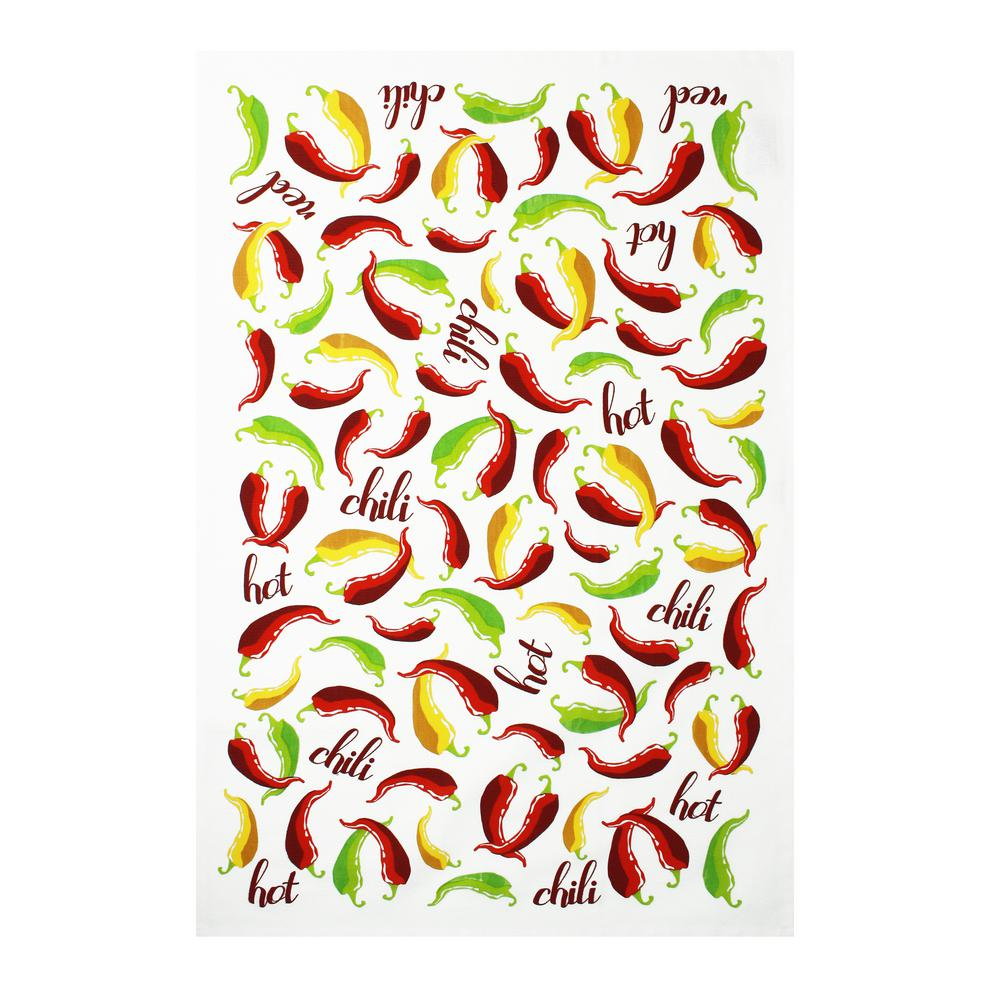Designer Print Multi Towels Chili Peppers Cotton Kitchen Towels (Set of