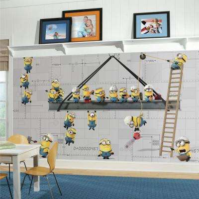 72 in. x 126 in. Minions at Work XL Chair Rail 7-Panel Pre-Pasted Wall Mural
