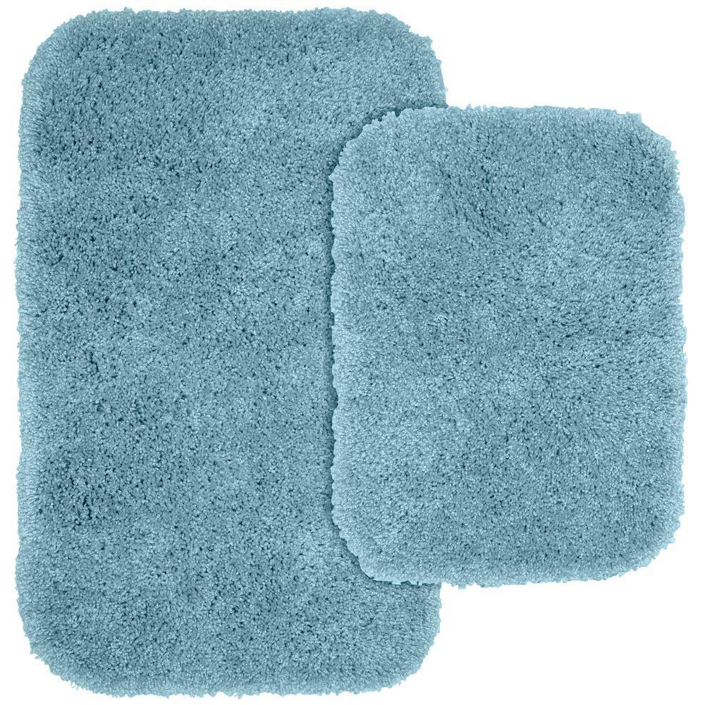 Serendipity Basin Blue 21 in. x 34 in. Washable Bathroom 2-Piece Rug Set