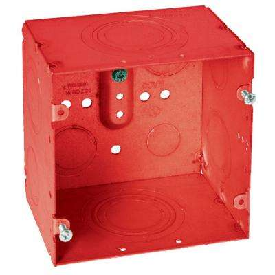 4-11/16 in. Square Welded Box, 3-1/4 in. Deep with 1/2 in. to 2 in. KO's - Life Safety Red (10-Pack)