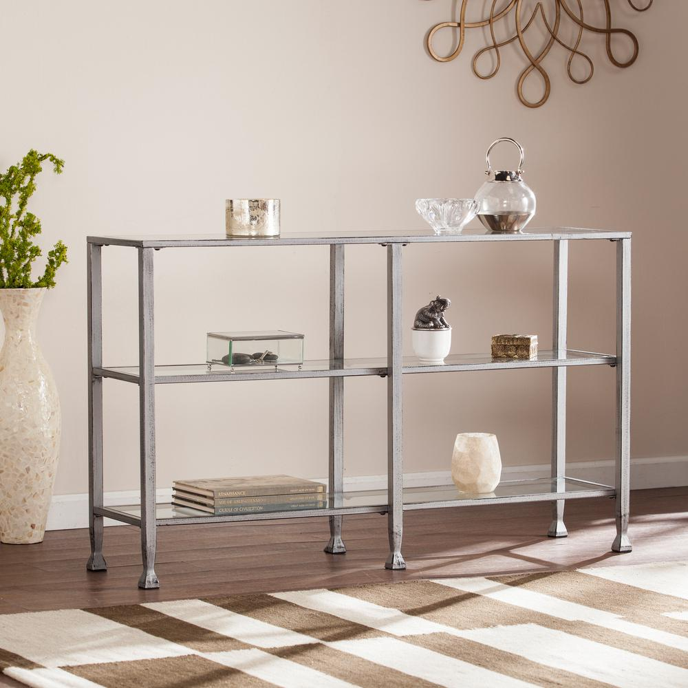 Southern Enterprises Galena Silver Metal/Glass 3-Tier Med...