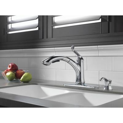 Linden Single-Handle Pull-Out Sprayer Kitchen Faucet with Soap/Lotion Dispenser in Chrome